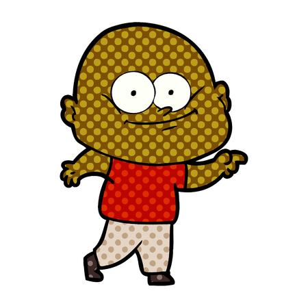 Bald man staring,with dots cartoon illustration.