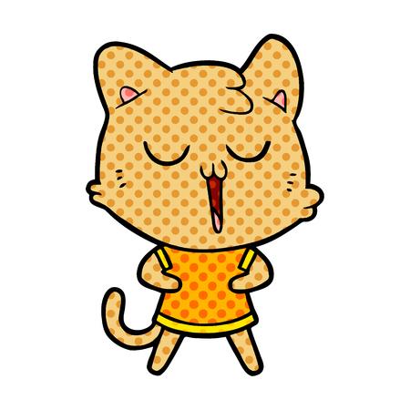 A cartoon cat singing on colorful presentation.