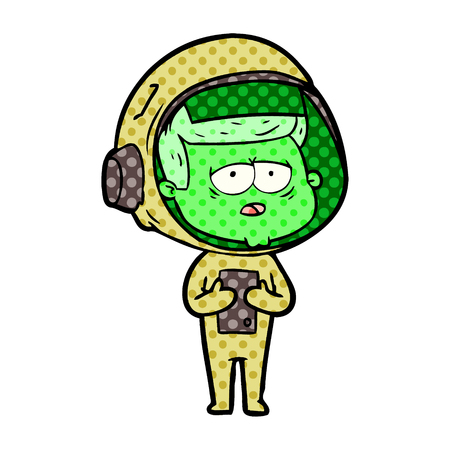 Cartoon tired green astronaut Illustration