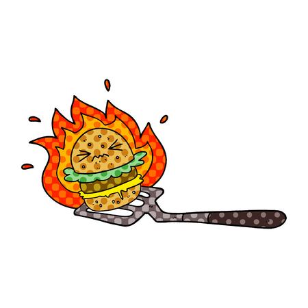 cartoon burger on spatula Imagens - 95531899