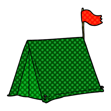Cartoon green tent with red flag