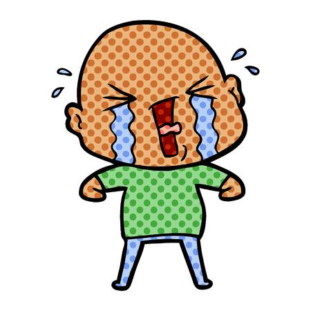 Cartoon crying bald man.