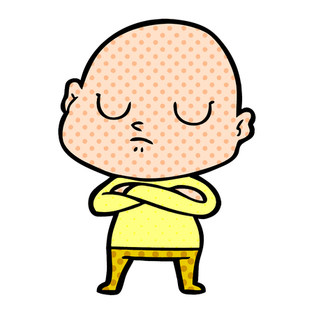 Snob bald man with dots cartoon illustration.