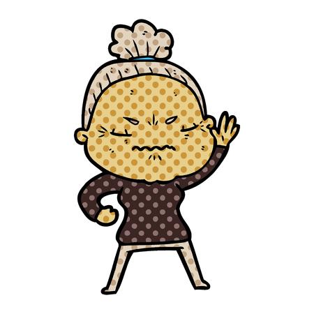Eine Karikatur verärgert alte Dame auf bunten Darstellung Standard-Bild - 95504571