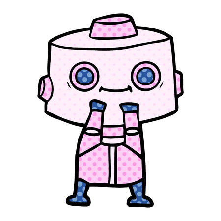 Female robot in dotted cartoon illustration.