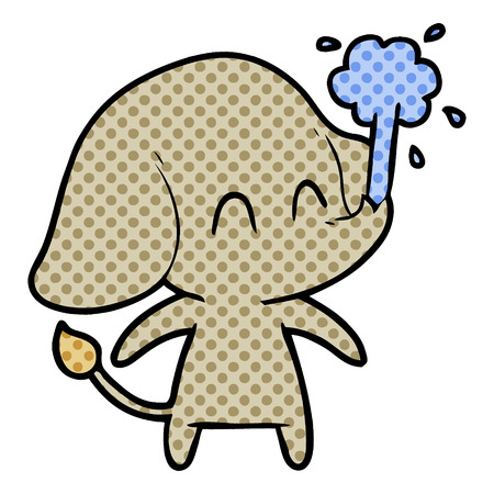 Cute elephant spouting water in dotted cartoon illustration.
