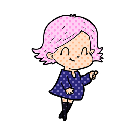 Friendly girl in dotted cartoon illustration.