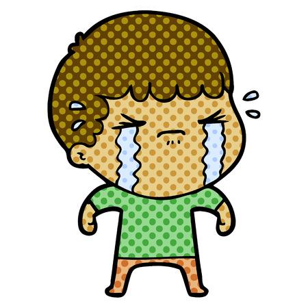 Crying man with dots cartoon illustration.
