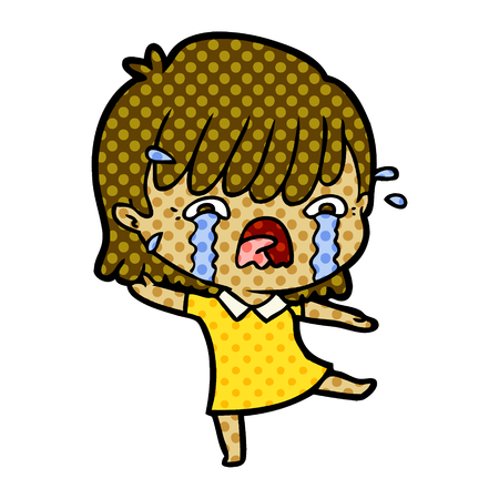 Crying girl with dots cartoon illustration.