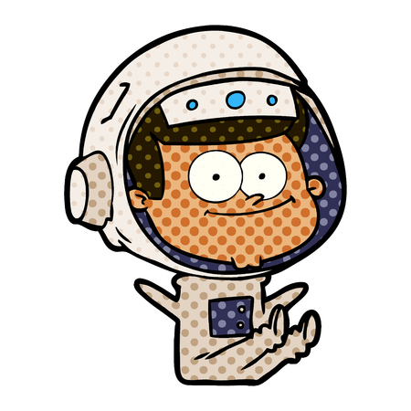 A happy astronaut cartoon on colorful presentation isolated on white background.