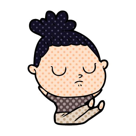 Cartoon calm woman with eyes closed Illusztráció