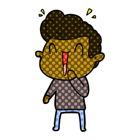 Excited man with dots cartoon illustration.