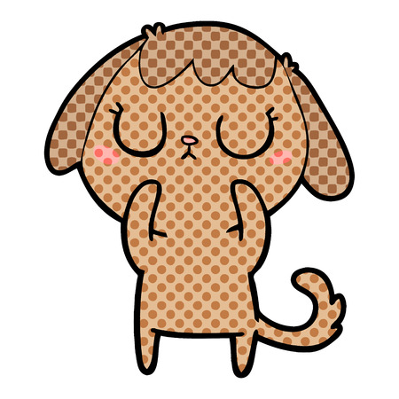 Cute dog, eyes shut, with dots cartoon illustration.