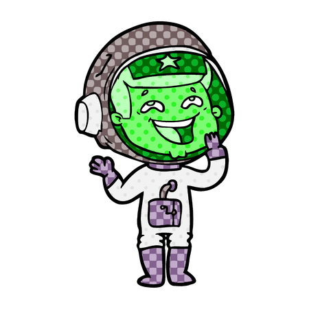 Laughing astronaut with dots cartoon illustration.