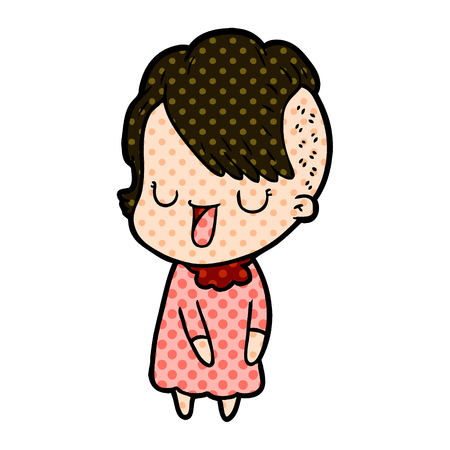 Cute girl with hipster haircut in dotted cartoon illustration. Çizim