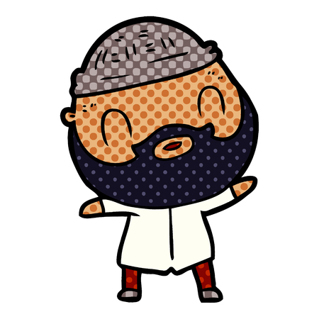 Bearded man in dotted cartoon illustration.
