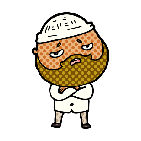 Worried man with beard in dotted cartoon illustration. 向量圖像