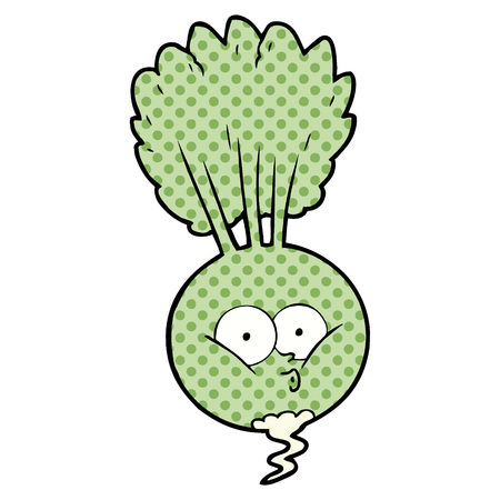 Vegetable, pout, with dots cartoon illustration.
