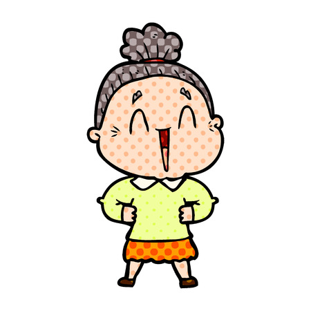 Happy old lady with dots cartoon illustration.