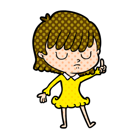Woman pointing up with dots cartoon illustration. Foto de archivo - 95434739