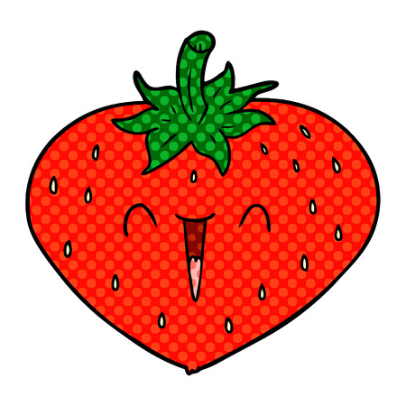 Happy strawberry in dotted cartoon illustration.