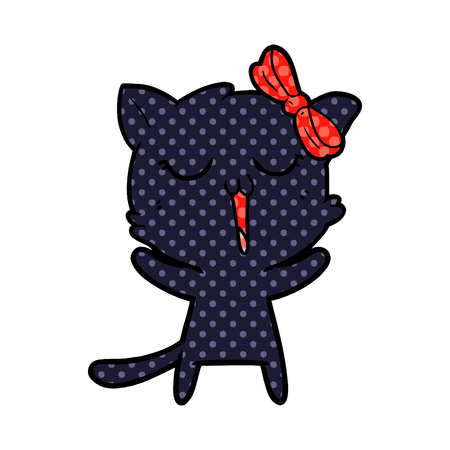 Cat, yawning, in dotted illustration. Çizim