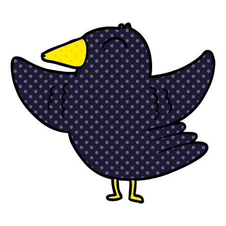 Cartoon bird spreading wings.