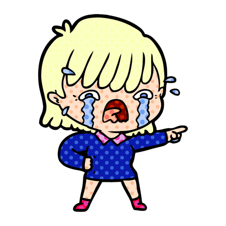 Crying girl in dotted illustration. Çizim