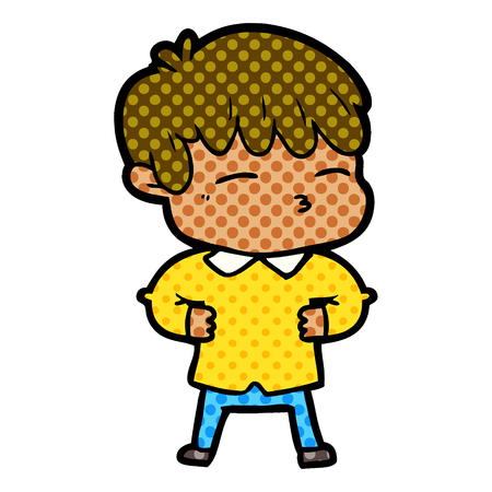 Curious boy, pout, with dots cartoon illustration.