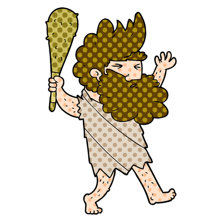 Cartoon cave man illustration on white background. Stock Illustratie