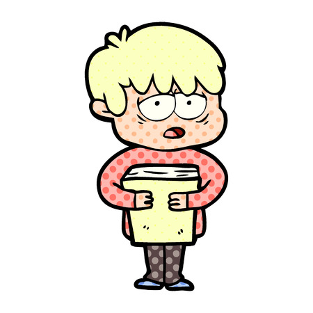 Cartoon exhausted boy holding book illustration on white background.