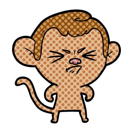 A cartoon annoyed monkey on colorful presentation isolated on white background.