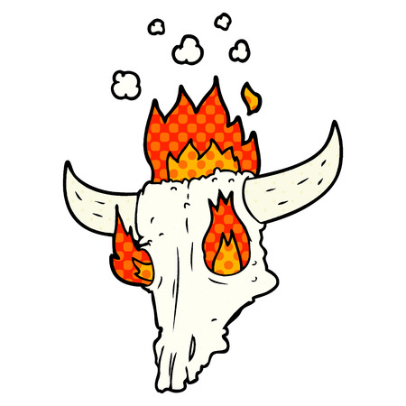 Spooky flaming animals skull cartoon illustration on white background. Illustration