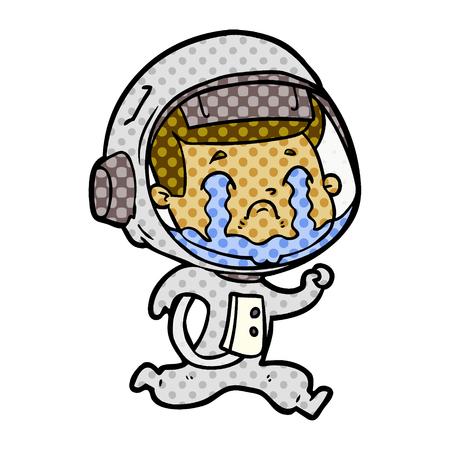 Cartoon crying astronaut  イラスト・ベクター素材