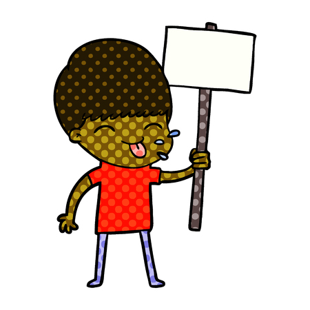 Protesting boy, tongue out and holding placard, in dotted illustration. Illustration