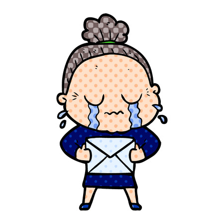 Old woman crying with letter, in dotted illustration. Illustration
