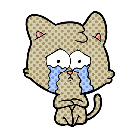 Crying cat cartoon. Çizim