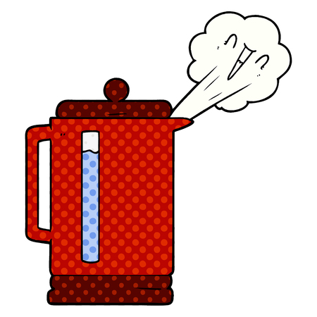 Cartoon electric kettle boiling.