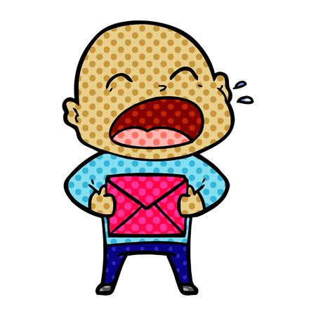 흰색 배경에 고립 된 다채로운 프레 젠 테이 션에 대머리 남자 소리 만화. 일러스트