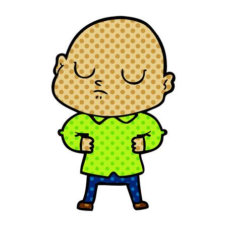 흰색 배경에 고립 된 화려한 프레젠테이션에 만화 대머리 남자.