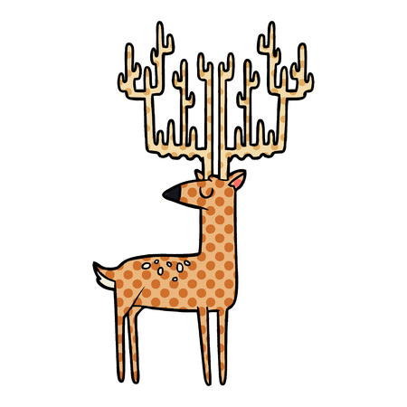 Cartoon stag with huge antlers illustration on white background.