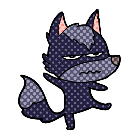 Cartoon annoyed wolf illustration on white background.