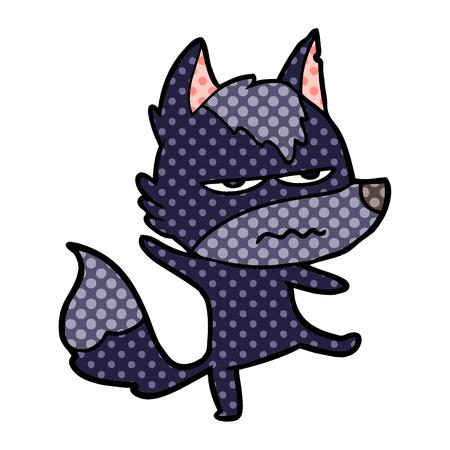Cartoon annoyed wolf illustration on white background.