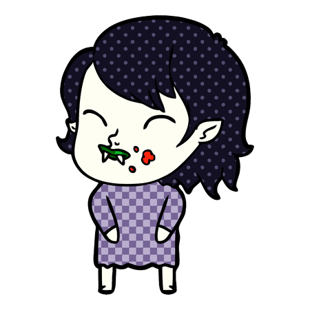 Cartoon vampire girl with blood on cheek Çizim