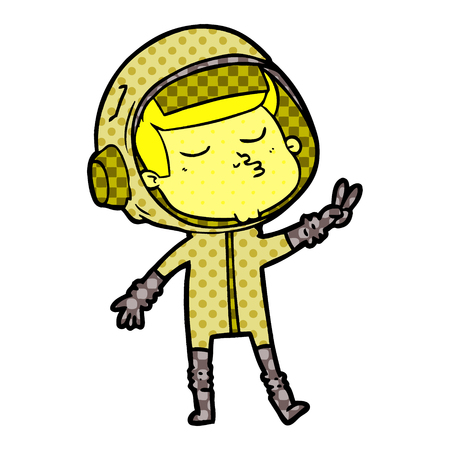 cartoon confident astronaut vector illustration. 向量圖像