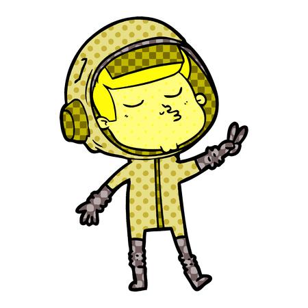 cartoon confident astronaut vector illustration. Illustration