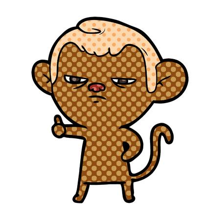 cartoon annoyed monkey vector illustration.