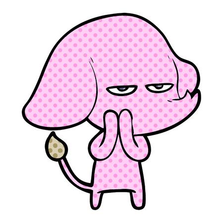 annoyed cartoon elephant Ilustração