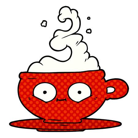 cartoon hot cup of coffee