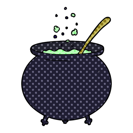 cartoon witch cauldron Ilustracja